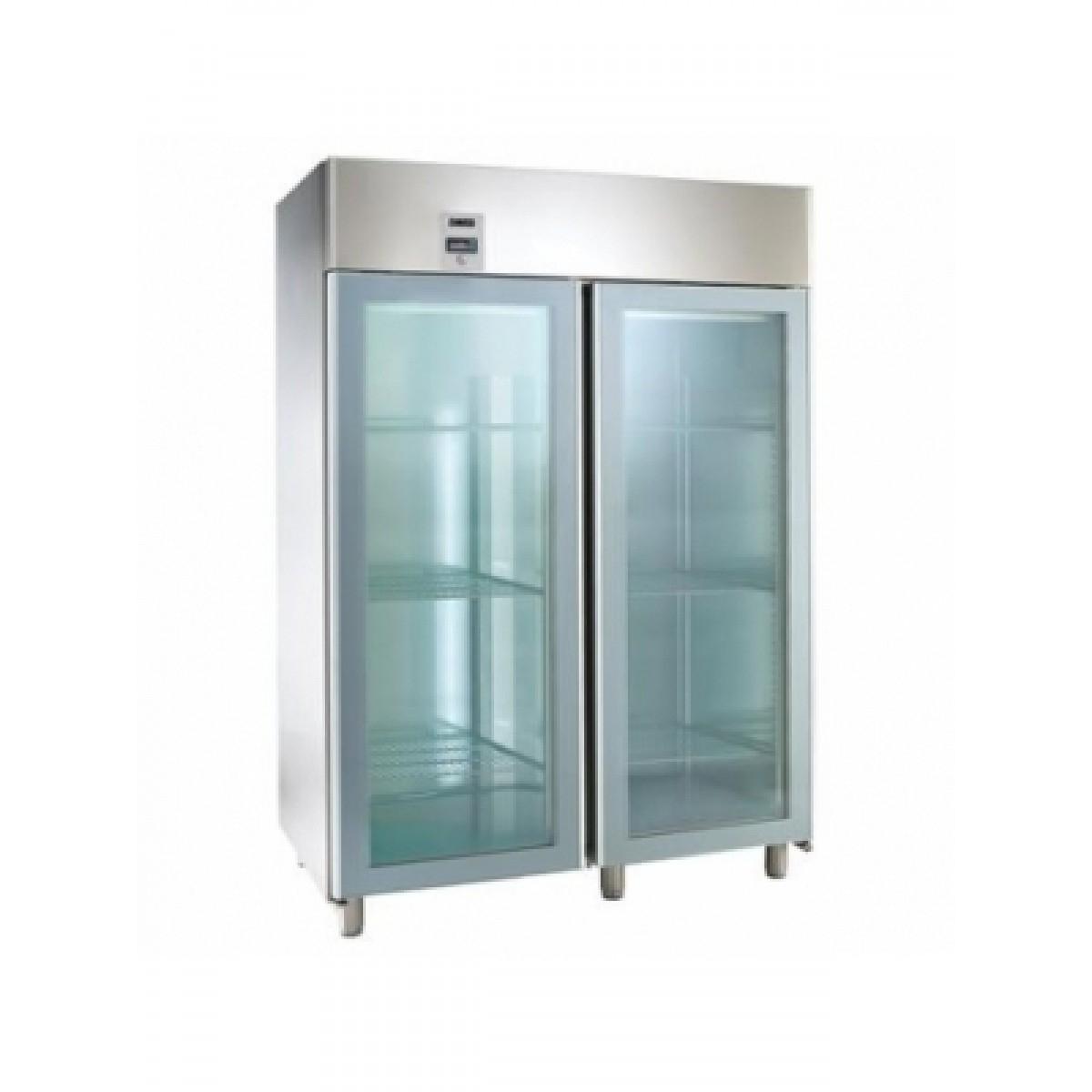 Fritstående køleskab med glasdør dobbelt låge