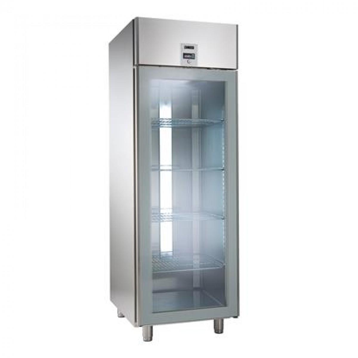 Fritstående køleskab med glasdør enkeltlåge