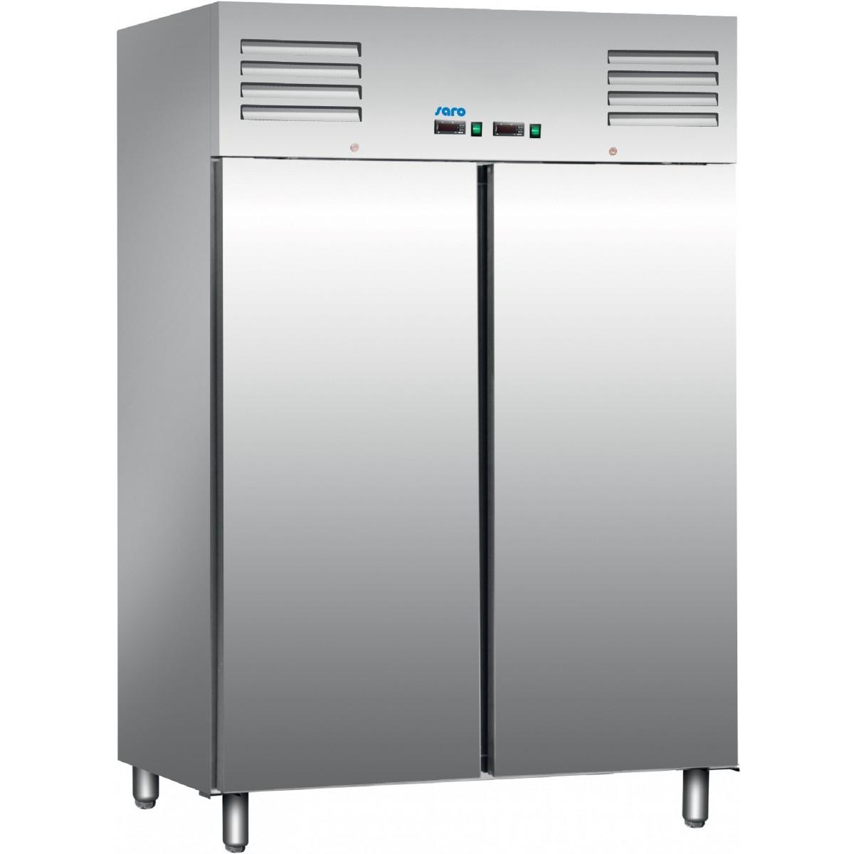 Fritstående køleskab i rustfrit stål med dobbeltlåge