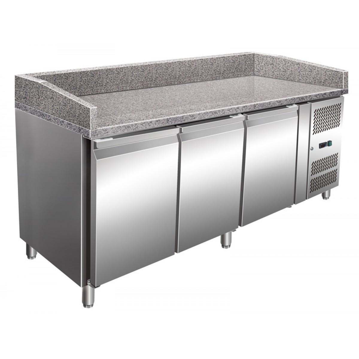 Pizzakølebord | 3 døre | granitbordplade | bagplade