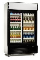 Flaskekøleskab | Drikkevarekøleskab | 1000 liter | med skydedøre | Hvid-sort