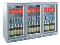 Flaskekøleskab 330 liter | med skydedøre | BackBar Cooler | bar køleskab | Sølvlook