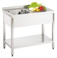 Vaskebord | rustfrit stål | 1000x600x850mm | PRO | 1 håndvask til venstre | Underhylde
