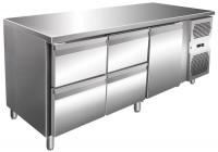 Kølebord - 386 liter - 4 skuffer - 1 dør - GN 1/1 - Rustfri stål