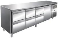 Kølebord - 511 liter - 6 skuffer - 1 dør - GN 1/1 - Rustfri stål