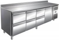 Kølebord - 511 liter - 6 skuffer - 1 dør - GN 1/1 - 100mm bagkant - Rustfri stål